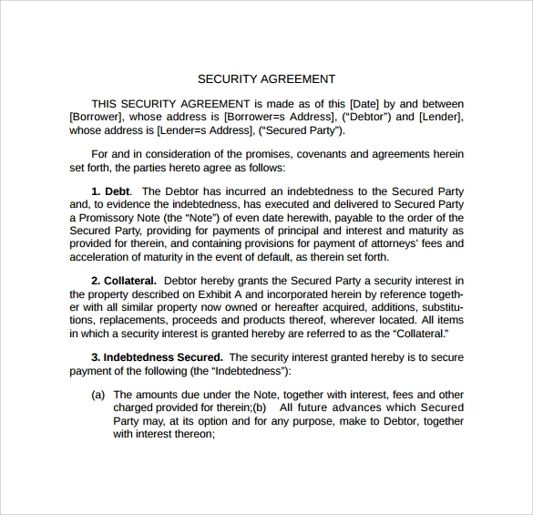 security agreement template to print