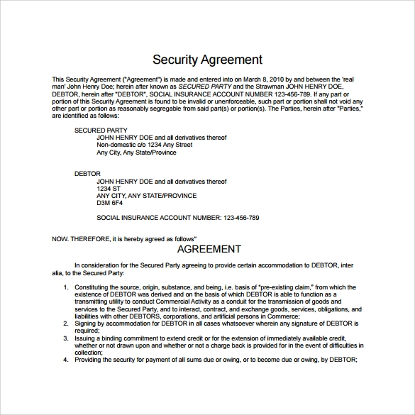 10 sample free security agreement templates sample templates for Security contracts templates