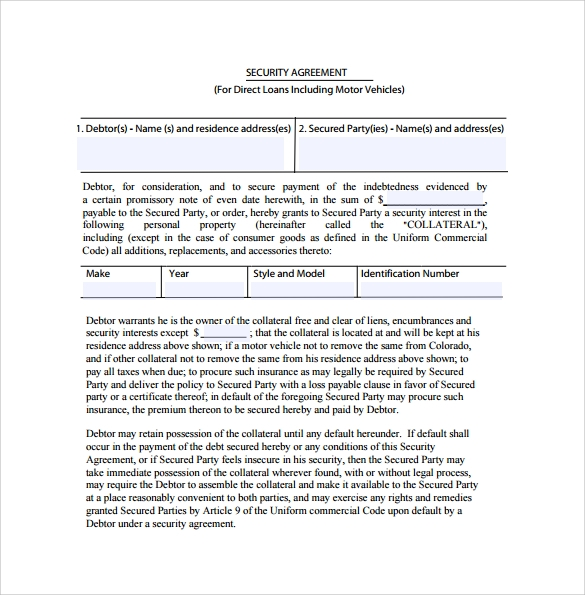 Doc12751650 Simple Interest Loan Agreement simple interest – Security Agreement Template