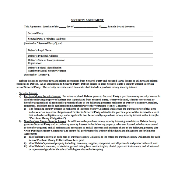 printable security agreement