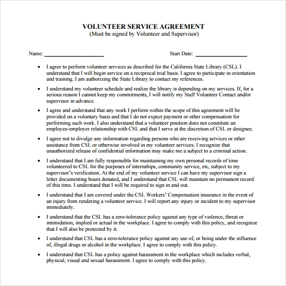 volunteer service agreement pdf