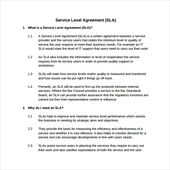 service level agreement to download