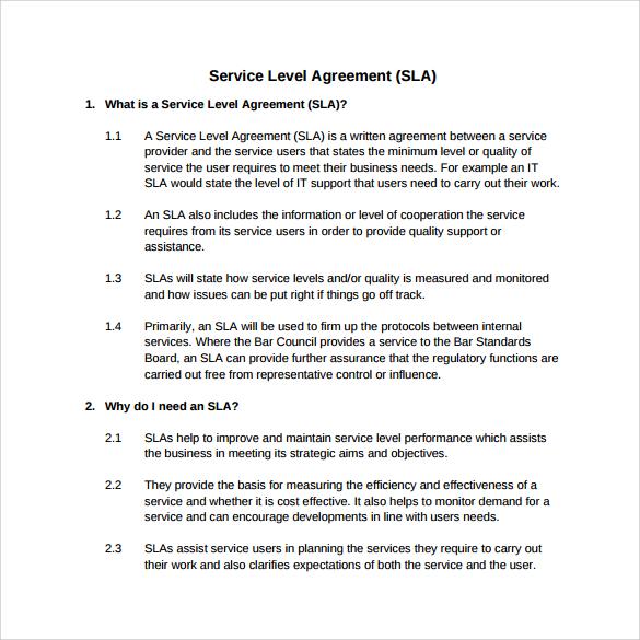 service level agreement pdf download