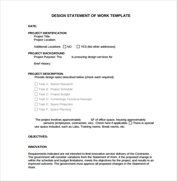 13 statement of work templates sample templates