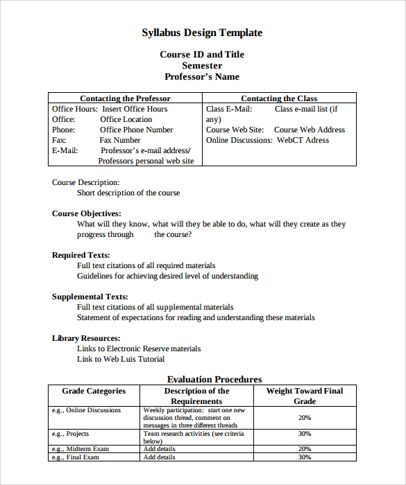 Sample Syllabus Template   Free Documents Download In Pdf