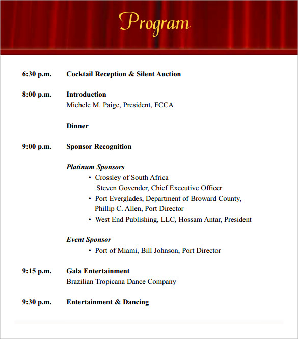 sample event program format