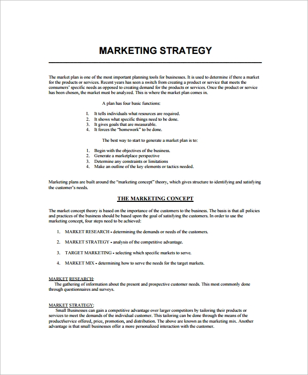 Sample Marketing Strategy Template   Free Documents Download In