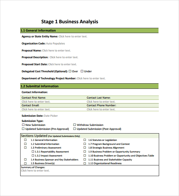 Sample Business Analysis   Documents In Pdf