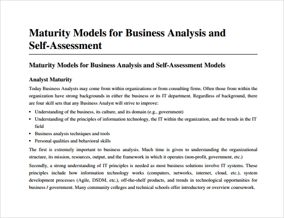 business analysis and self assessment