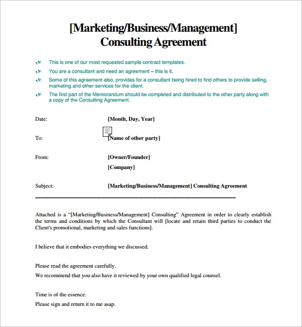 10 sample free consulting agreement templates sample for Marketing consultant contract template