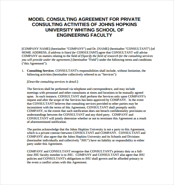 model consulting agreement template