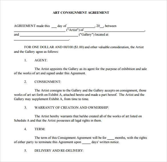 art consignment agreement template