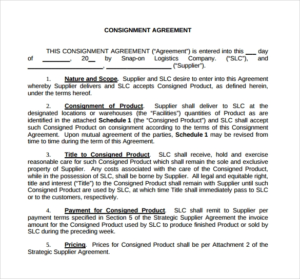 print consignment agreement template