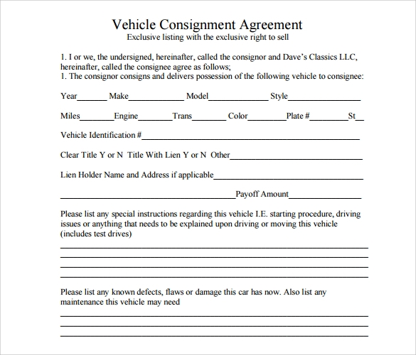 Beautiful Vehicle Consignment Agreement Template  Consignment Template