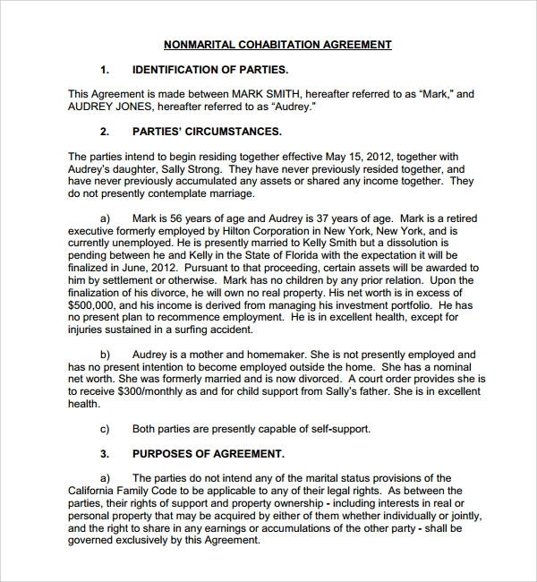 Sample cohabitation agreement 6 documents in word pdf non marital cohabitation agreement platinumwayz