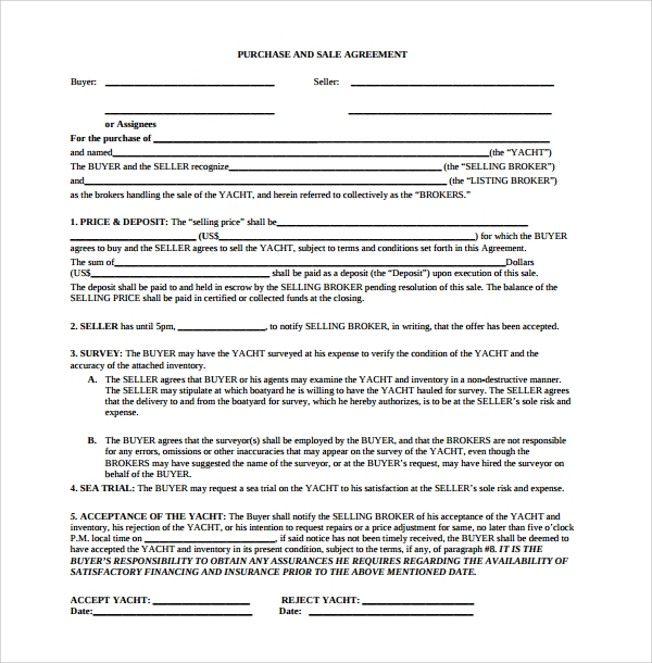 Sample Purchase And Sale Agreement   Documents In Word