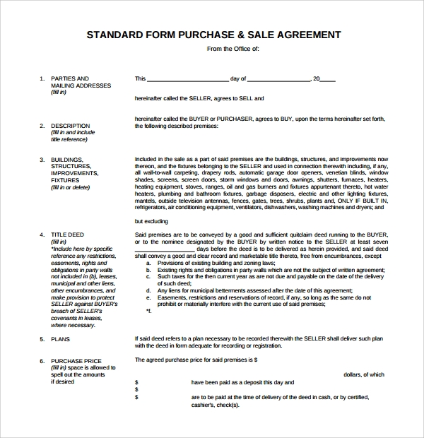 standard purchase and sale agreement