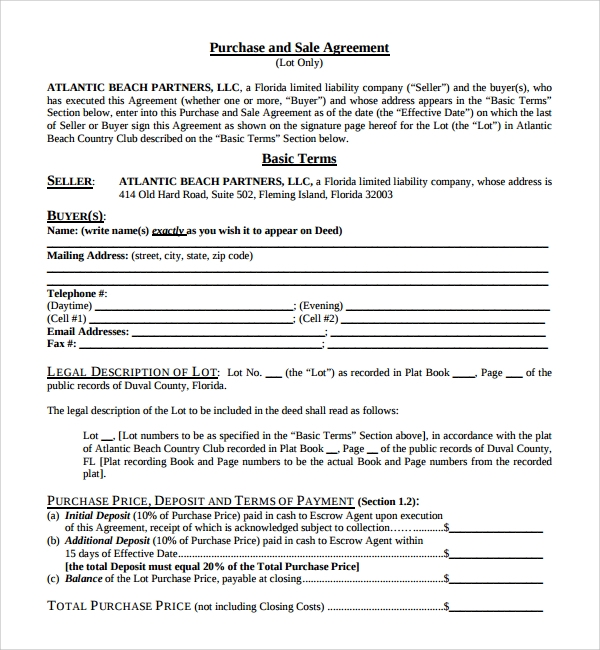 Sample Purchase And Sale Agreement - 11+ Documents In Word, Pdf