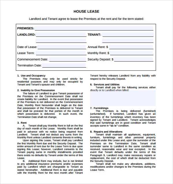 Charmant Sample House Lease Agreement
