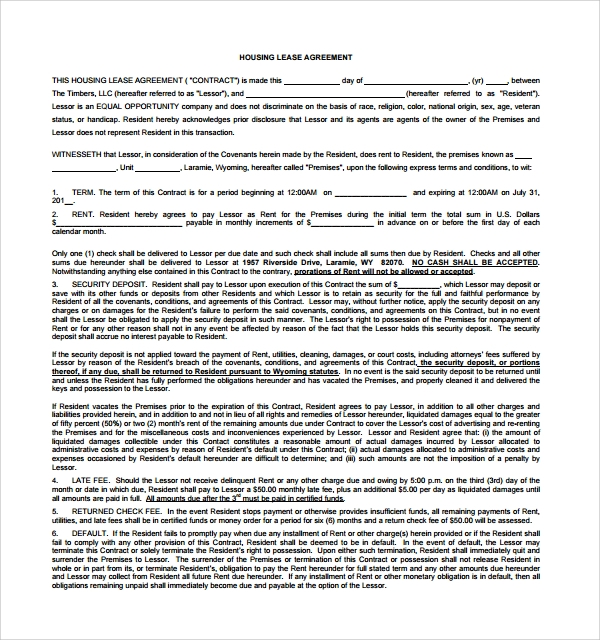 Sample House Lease Agreement 8 Free Documents Download in Word PDF – House Lease Agreement