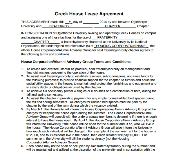 greek house lease agreement