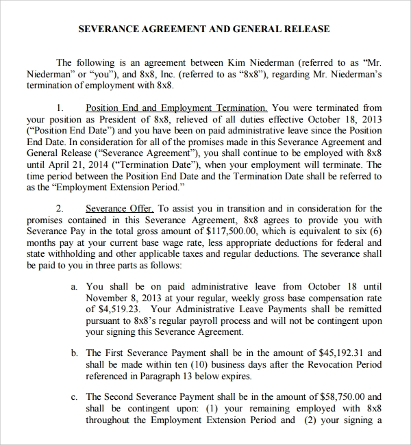 Sample Severance Agreement 6 Documents In PDF Word – Severance Agreement Template