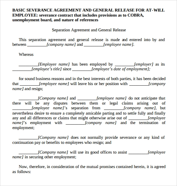 Sample Severance Agreement - 6+ Documents In Pdf, Word