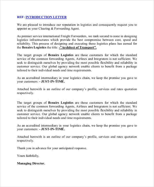 transport business introduction letter