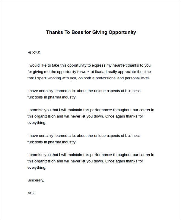 thank you letter for an opportunity