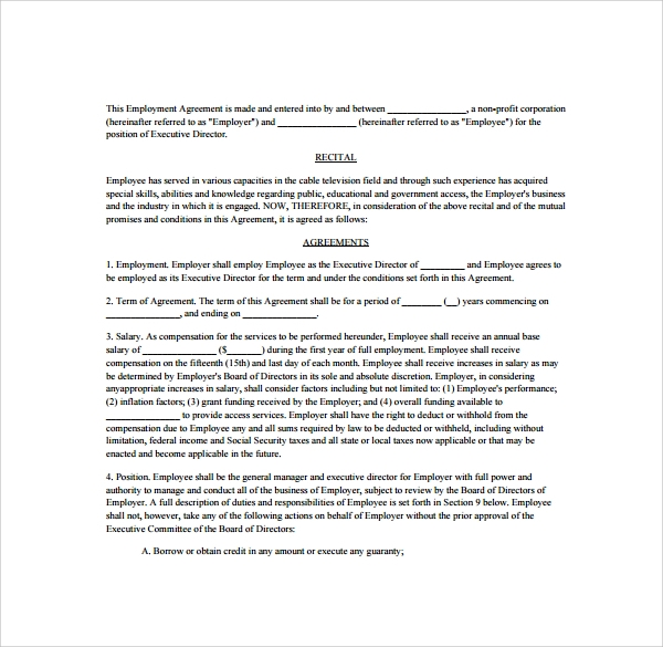 Executive Agreement   Download Free Documents In Pdf Word