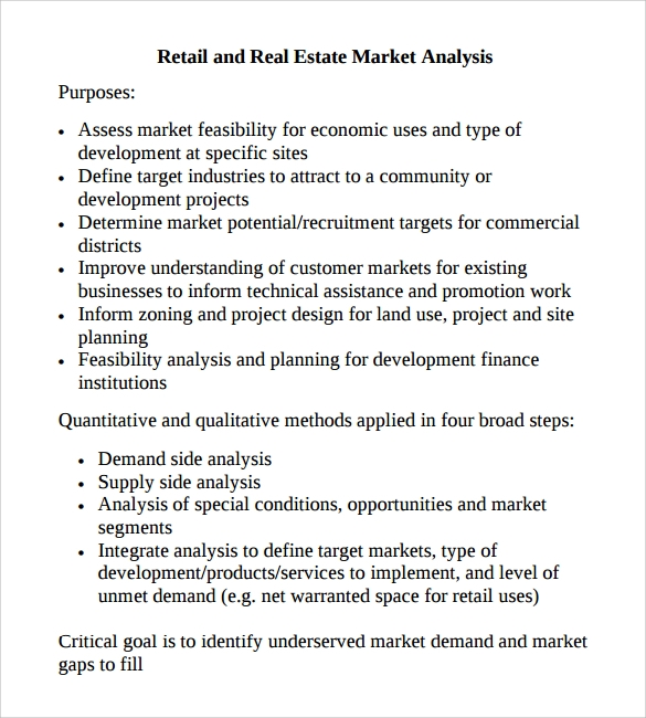 Sample Market Analysis Template 7 Free Documents in PDF Excel – Sample Real Estate Market Analysis