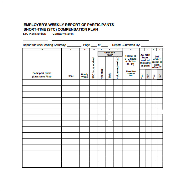 Weekly Report Template 12 Download Free Documents In Pdf