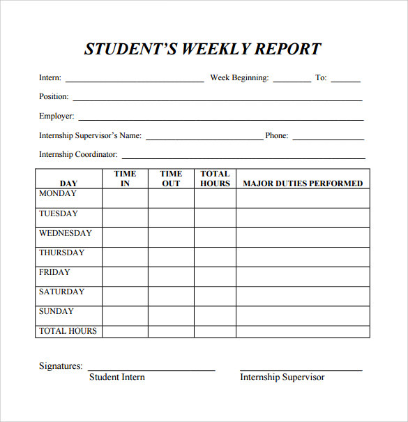 student weekly report template