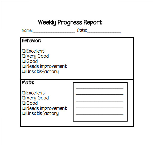 Weekly Progress Report Template PDF NqrCShba