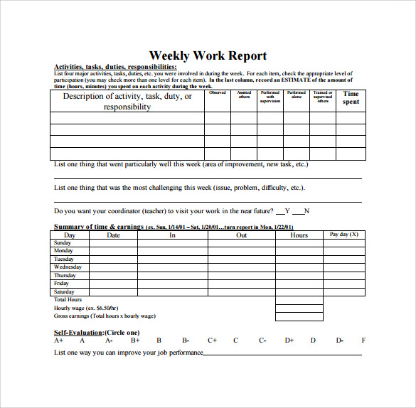 weekly work report template - Etame.mibawa.co