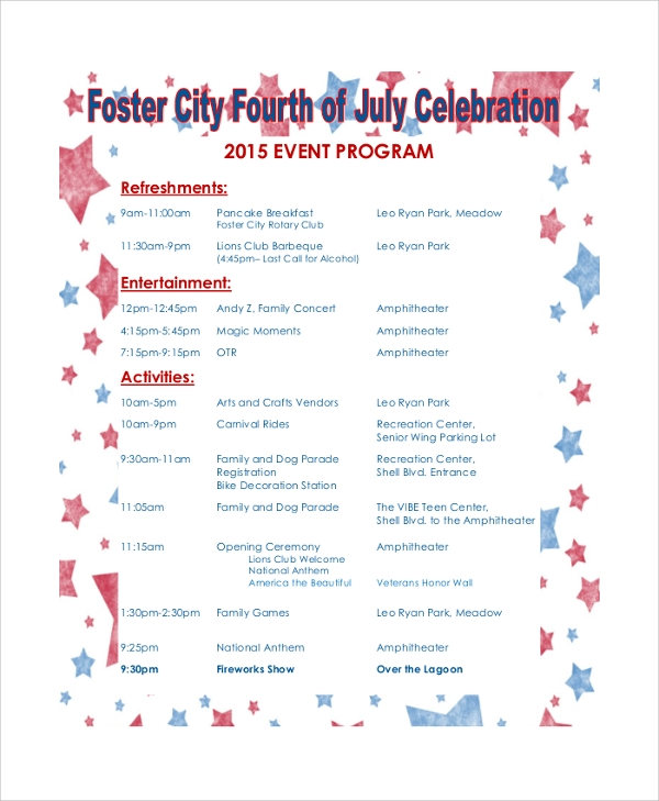 event celebration program schedule