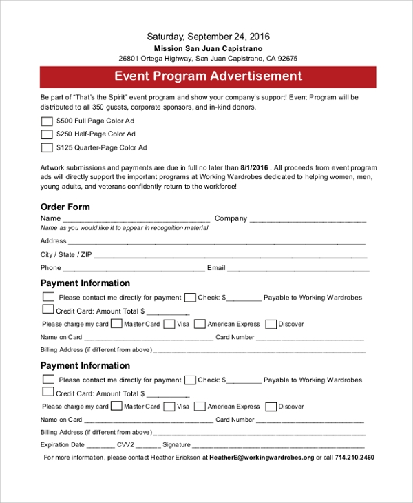 event program advertisement form