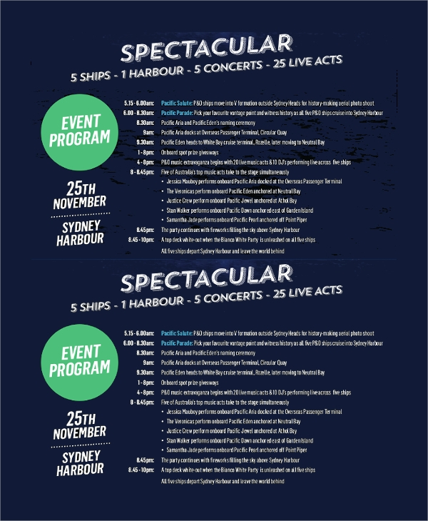 spectacular event program