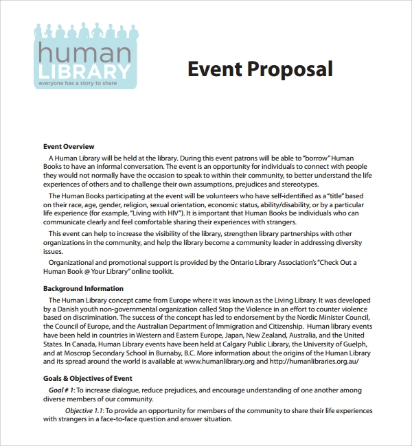 Lovely Event Proposal Template Free Download PDF In Event Proposal Sample Letter