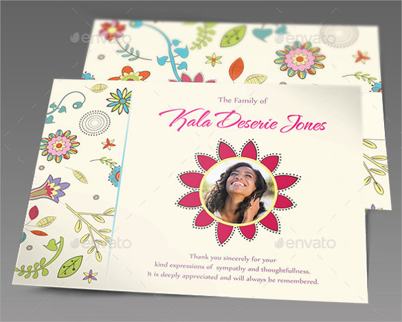 floral dreams funeral thank you card