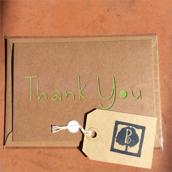 papercut thank you card