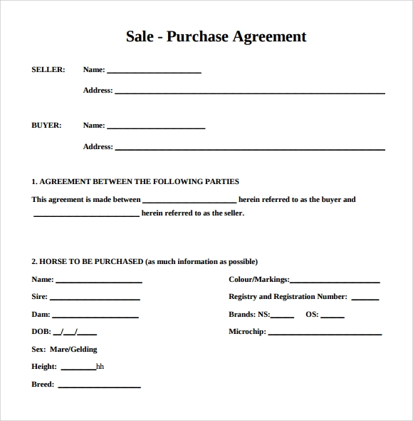 Example Of Purchase Agreement Gallery