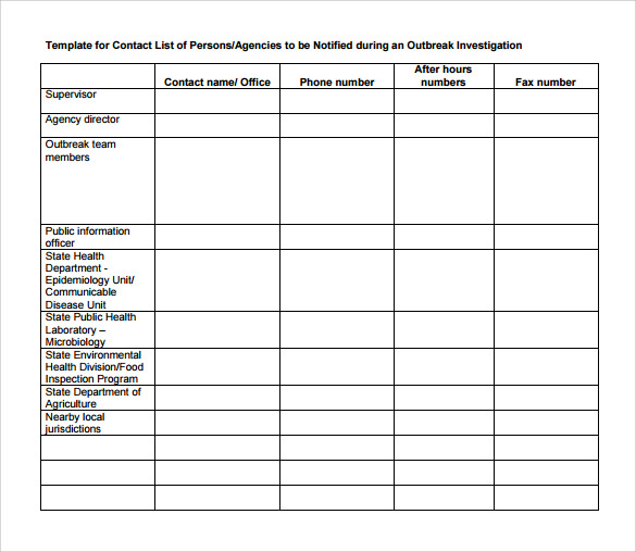 Sample Contact List Template - 12+ Free Documents Download in PDF ...