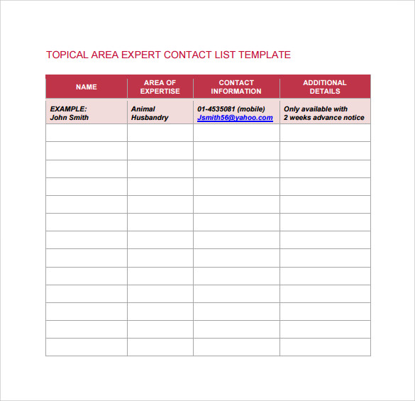 contact list template word .