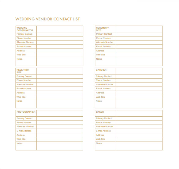 Wedding Contact List Template