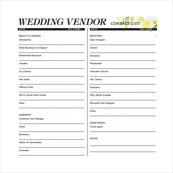 Wedding Vendor Contact List Template  Contact Information Template