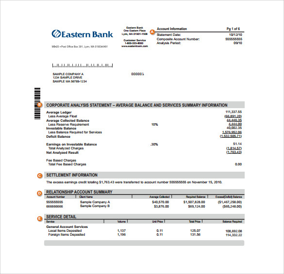 FREE 18+ Sample Bank Statement Templates In PDF