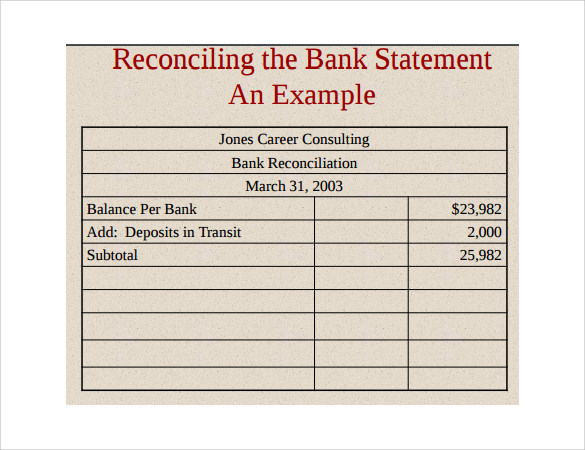 example of bank statement template