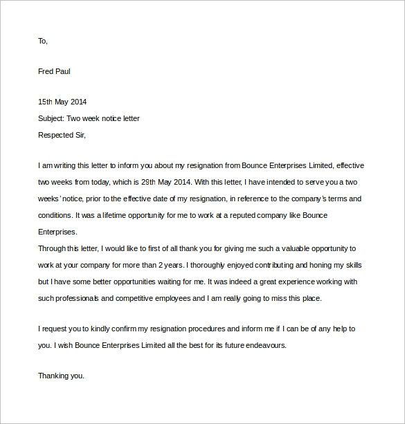 Two Weeks Notice Letter - 12+ Download Free Documents in Word