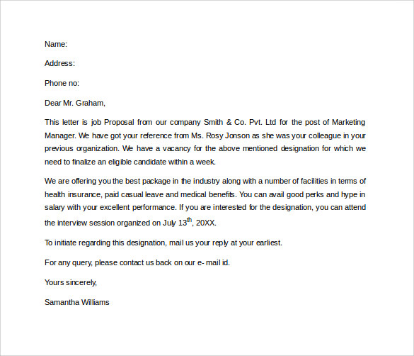 Attractive Job Proposal Letter Template Intended For Proposal Letter Samples